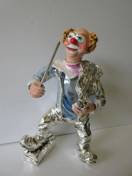 ITALIAN SILVER PLATED & ENAMEL MUSICAL VIOLIN CIRCUS CLOWN FIGURINE