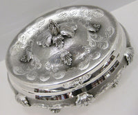 ITALIAN 925 STERLING SILVER HAND CHASED LEAF APPLIQUES OVAL JEWELRY ESROG BOX