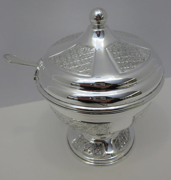 FINE 925 STERLING SILVER & GILDED DIAMOND CUT SHINY SUGAR HONEY DISH & SPOON