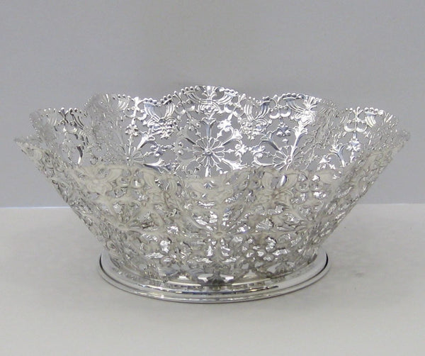 ITALIAN 925 STERLING SILVER HANDCRAFTED BEADED FILIGREE ROUND DISH BOWL