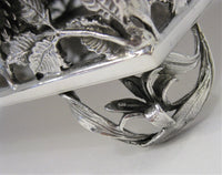 ITALIAN 925 STERLING SILVER HANDMADE LARGE ROSE FLORAL FLAT SQUARE NAPKIN HOLDER
