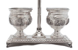 925 STERLING SILVER FLORAL LEAF CHASED ORNATE DOUBLE SALT HOLDER STAND