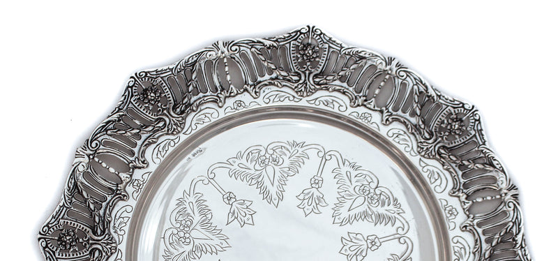 925 STERLING SILVER GLOSSY HANDMADE CHASED & FILIGREE AMERICAN BORDER ROUND TRAY