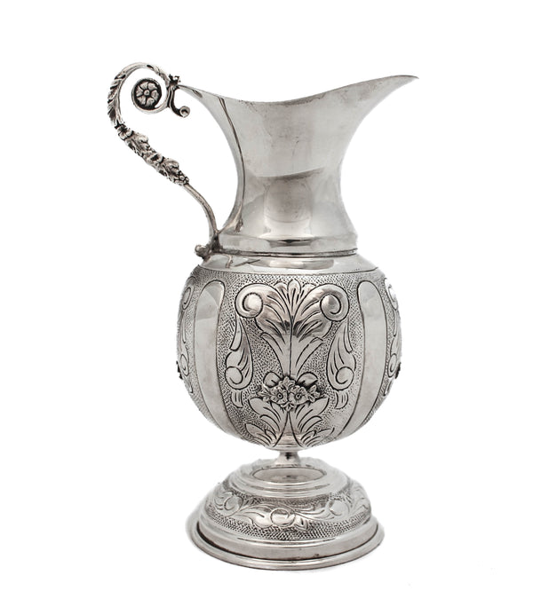 925 STERLING SILVER HANDMADE GLOSSY CHASED DESIGN & FLORAL APPLIQUES OIL PITCHER