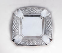 925 STERLING SILVER CHAISED DIAMOND CUT AND GARLAND  DESIGN CUP & TRAY