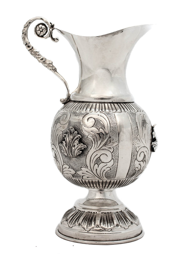 925 STERLING SILVER HANDMADE GLOSSY CHASED DESIGN & LEAF APPLIQUES OIL PITCHER