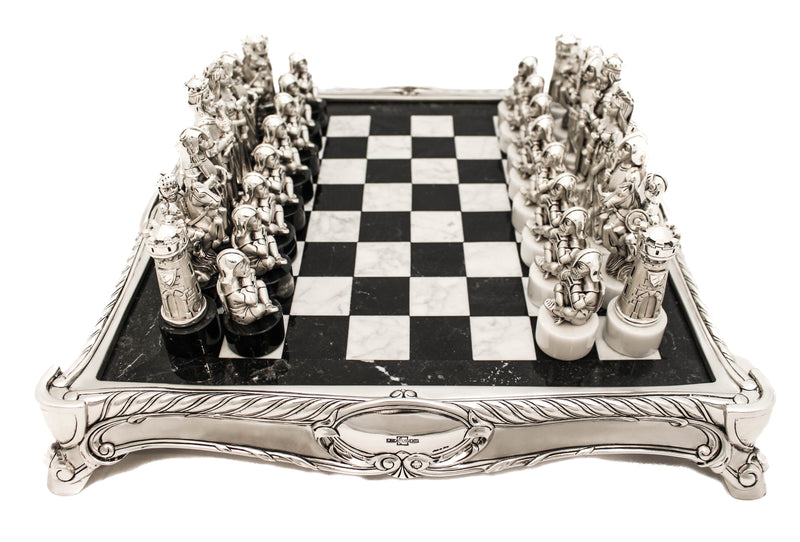 FINE HANDCRAFTED DETAILED RARE ITALIAN SILVER PLATE & MARBLE CHESS SET