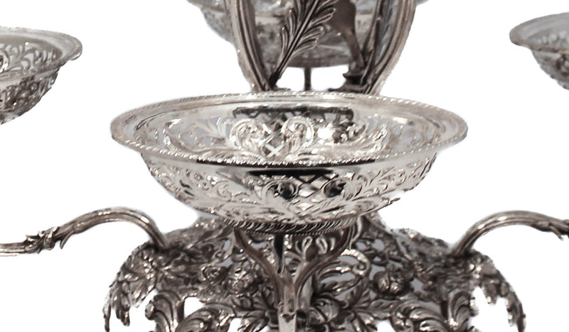 FINE 925 STERLING SILVER LARGE CUT OUT DESIGN MULTI BASKET DISH CENTERPIECE