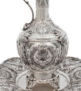 FINE 925 STERLING SILVER CHASED ORNATE SHELL ADORNED WINE DECANTER & TRAY