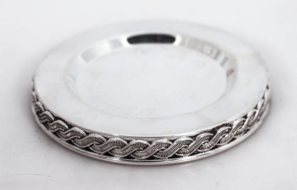 925 STERLING SILVER FINE MODERN SLEEK WITH INTERWOVEN BRAID DESIGN CUP & TRAY