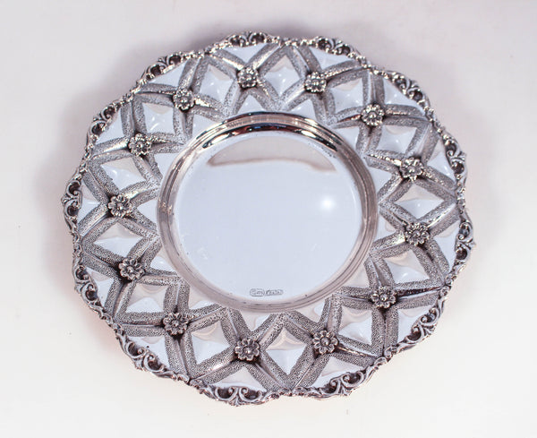 925 STERLING SILVER CHAISED DIAMOND CUT AND FLOWER APPLIQUE  DESIGN CUP & TRAY