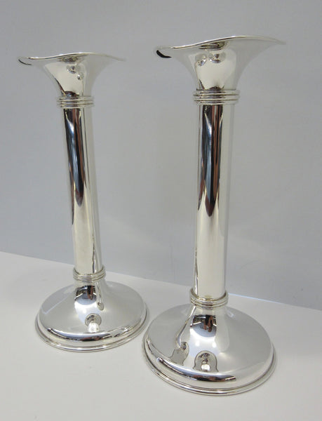 ITALIAN 925 STERLING SILVER HAND WROUGHT SHINY SLEEK MODERN ROUND CANDLESTICKS