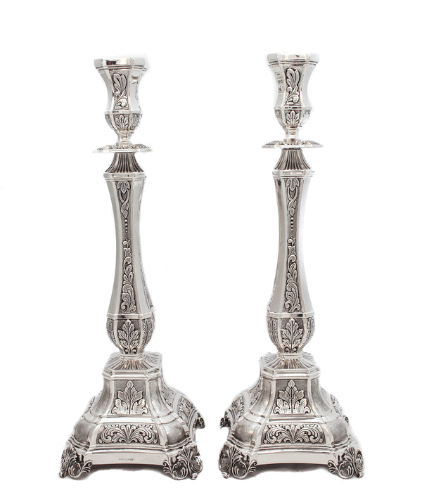 FINE 925 STERLING SILVER HANDMADE CHASED PATTERNED LEAF EMBOSSED CANDLESTICKS
