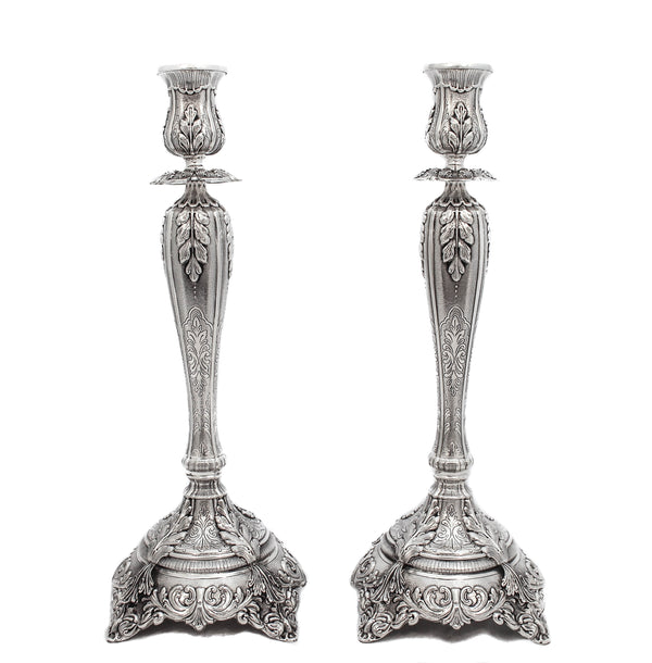 925 STERLING SILVER HANDCRAFTED ORNATE EMBOSSED VENICE CANDLESTICKS
