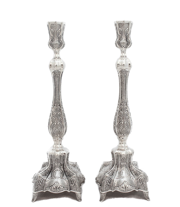 925 STERLING SILVER HANDMADE CHASED GARLAND & LEAF DESIGN CANDLESTICKS
