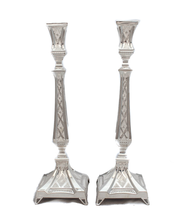 925 STERLING SILVER HANDCRAFTED DIAMOND CUT QUEEN LOX CANDLESTICKS