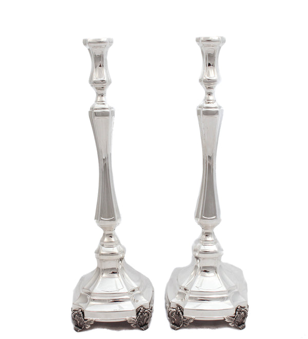FINE 925 STERLING SILVER HANDMADE CHASED LEONARDO SLEEK SIMPLE CANDLESTICKS