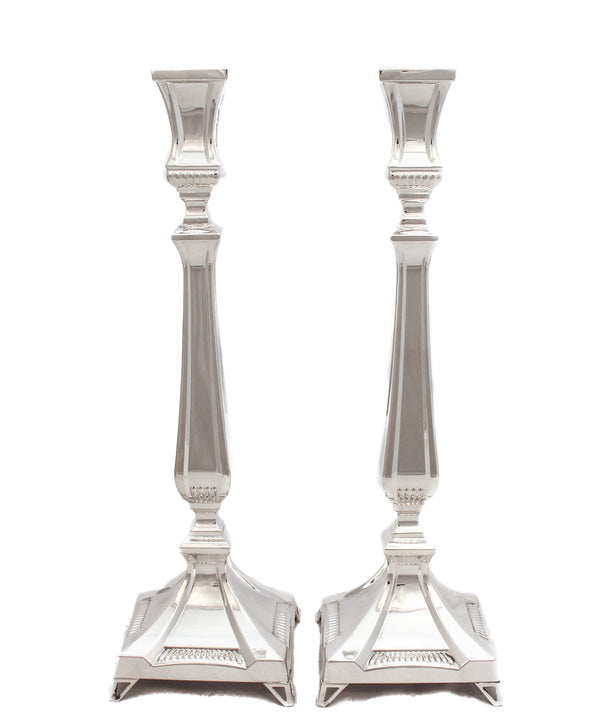 FINE 925 STERLING SILVER HANDMADE CHASED QUEEN L SLEEK SIMPLE CANDLESTICKS