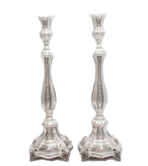 FINE 925 STERLING SILVER HANDMADE CHASED AMADEO LEAF EMBOSSED CANDLESTICKS