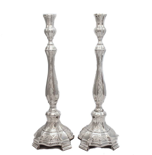 FINE 925 STERLING SILVER HAND WROUGHT SHINY GLOSSY DIAMOND CUT CANDLESTICKS