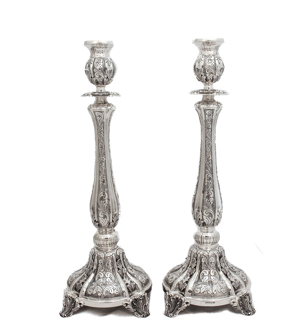 925 STERLING SILVER HANDMADE CHASED LEAF EMBOSSED SALERNO CANDLESTICKS
