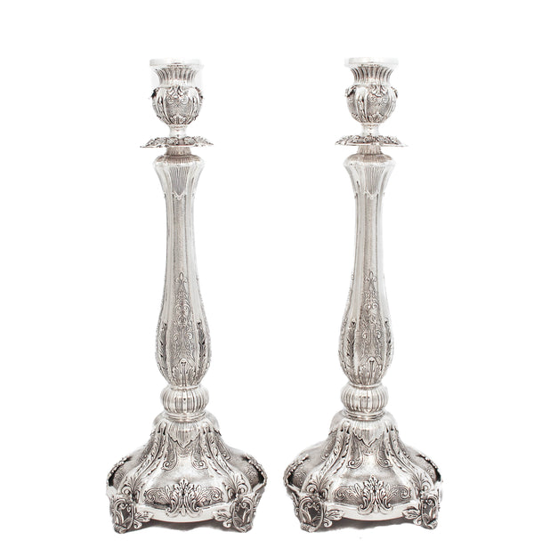 FINE 925 STERLING SILVER HAND WROUGHT CHASED SWIRL & LEAF APPLIQUE CANDLESTICKS
