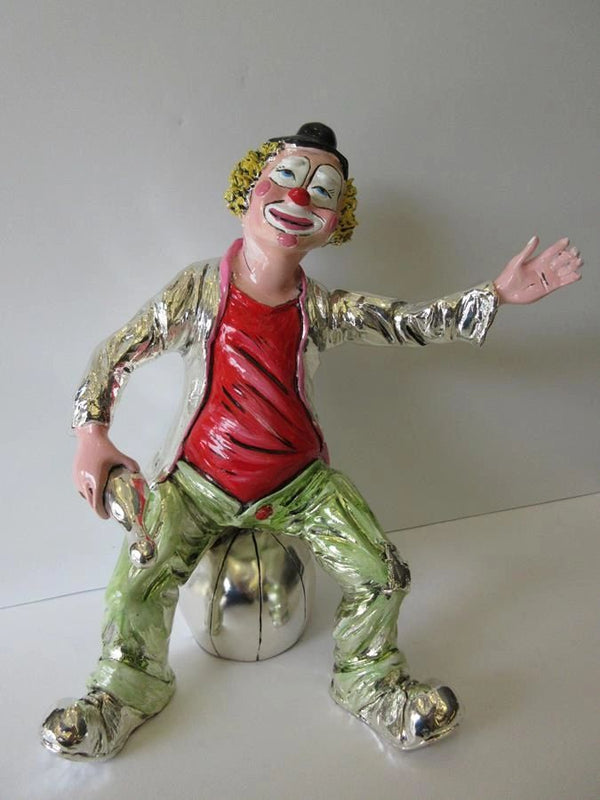 ITALIAN SILVER PLATED HAND PAINTED ENAMEL CLOWN SITTING ON BALL FIGURINE