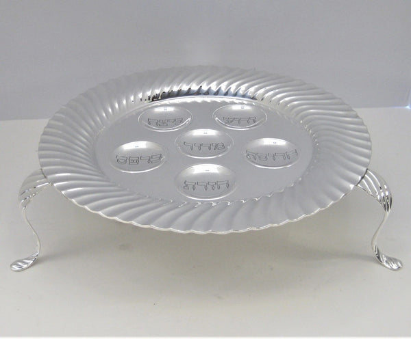 PORTUGUESE 925 STERLING SILVER HANDCRAFTED GLOSSY MODERN STANDING SEDER PLATE
