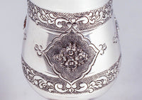 925 STERLING SILVER FINE CHAISE GARLAND BANDED & FLOWER APPLIQUE DESIGN CUP