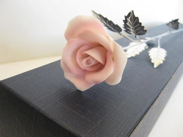ITALIAN SILVER PLATED & PAINTED PORCELAIN PALE PINK LONG STEM ROSE FLOWER