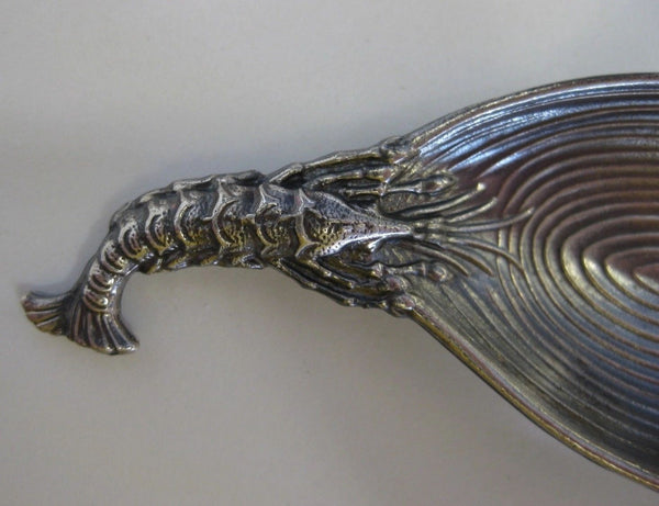 ITALIAN BUCCELLATI 925 STERLING SILVER HANDCRAFTED CLAM & SHRIMP SPOON