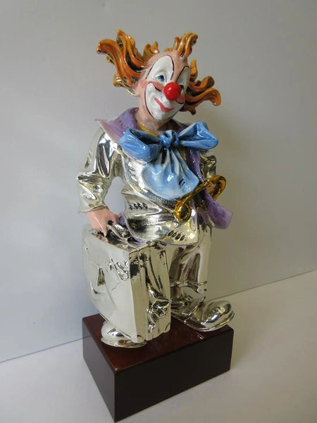 ITALIAN SILVER PLATED & ENAMEL HANDCRAFTED TRAVELER CIRCUS CLOWN FIGURINE