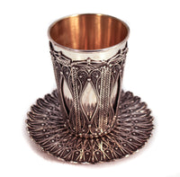 STERLING SILVER HANDMADE INTRICATE BEADED FILIGREE CUP & TRAY