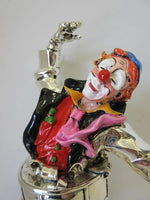 ITALIAN SILVER PLATED HANDCRAFTED PAINTED DETAILED DANCING CLOWN FIGURINE