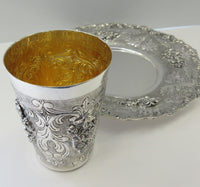 925 STERLING SILVER & GILDED HANDMADE MATTE & SHINY FLORAL ORNATE CUP & TRAY
