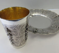 FINE 925 STERLING SILVER & GILDED HANDMADE HANGING LEAF CHASED SWIRL CUP & TRAY