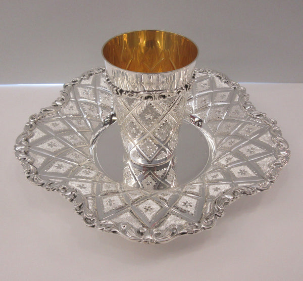 FINE 925 STERLING SILVER & GILDED DIAMOND CUT ORNATE ROUND SCALLOPED CUP & TRAY