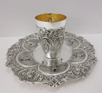 FINE 925 STERLING SILVER & GILDED HANDMADE HEAVY LEAF APPLIQUE MATTE CUP & TRAY