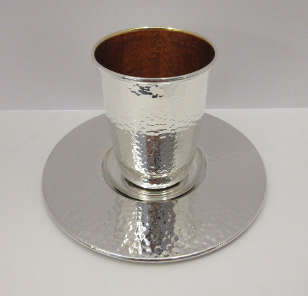 FINE ITALIAN 925 STERLING SILVER & GILDED HANDMADE HAMMERED MODERN CUP & TRAY