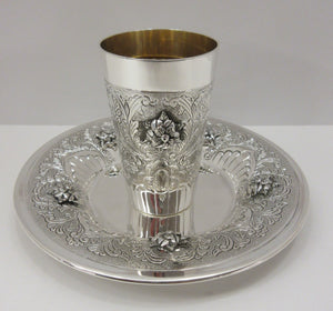FINE 925 STERLING SILVER & GILDED FLORAL ORNATE MILGRAIN LEAF CHASED CUP & TRAY