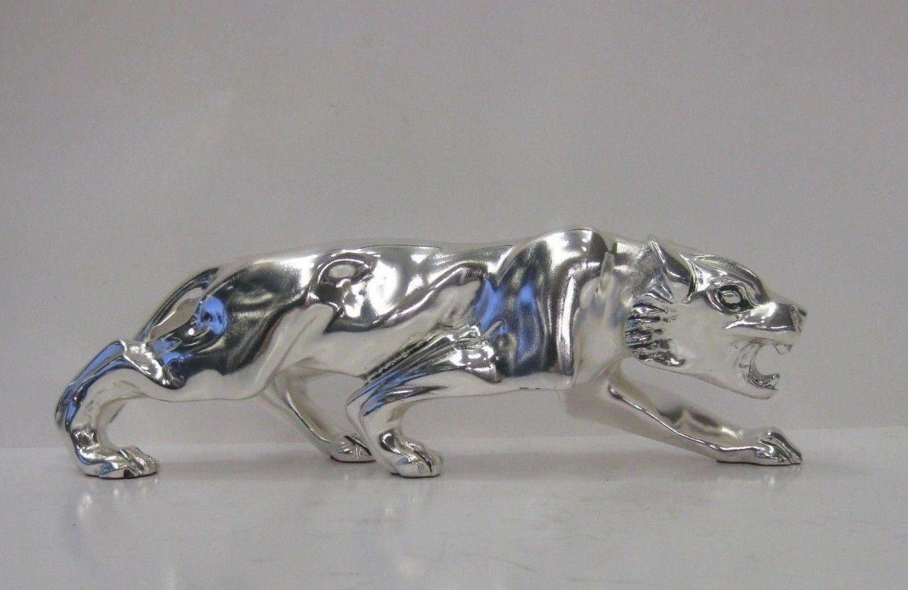 SMALL ITALIAN SILVER PLATED HAND WROUGHT FIERCE DETAILED PANTHER FIGURINE