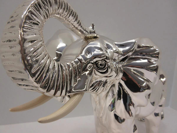 FINE LARGE ITALIAN SILVER PLATED HAND WROUGHT DETAILED ELEPHANT FIGURINE