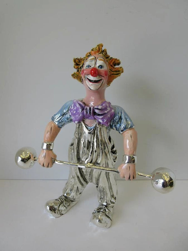 ITALIAN SILVER PLATED & ENAMEL HANDCRAFTED CLOWN LIFTING WEIGHTS FIGURINE