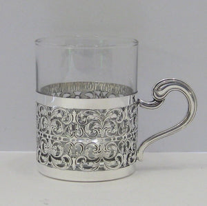 ITALIAN 925 STERLING SILVER HANDCRAFTED SWIRL FILIGREE TEA CUP WITH HANDLE