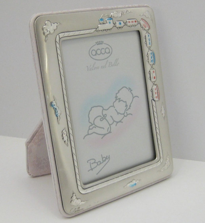 FINE ITALIAN SILVER LAMINATE PINK & BLUE TRAIN BABY PICTURE FRAME WITH PINK BACK