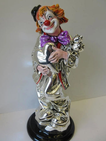 LARGE ITALIAN SILVER PLATED & ENAMEL IN LOVE HEART FLOWER CIRCUS CLOWN FIGURINE