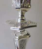 FINE 925 STERLING SILVER LEAF SWIRL CHASED ORNATE SQUARE CANDLESTICKS