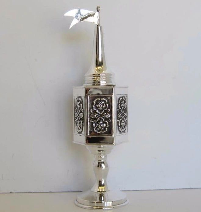 925 STERLING SILVER HANDCRAFTED ANTIQUE DOUBLE ROSE & FLAG BESUMIM HOLDER