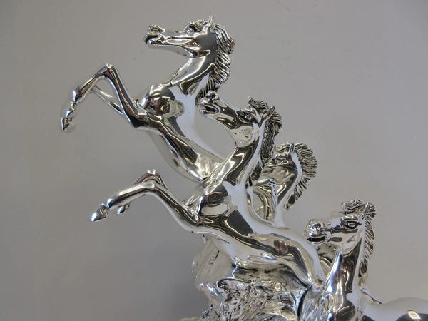 ITALIAN SILVER PLATED HAND WROUGHT DETAILED FIERCE RACE HORSE FIGURINE
