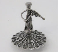 925 STERLING SILVER HANDMADE SMALL FILIGREE DREIDEL WITH MUSICIAN SHAPED HANDLE